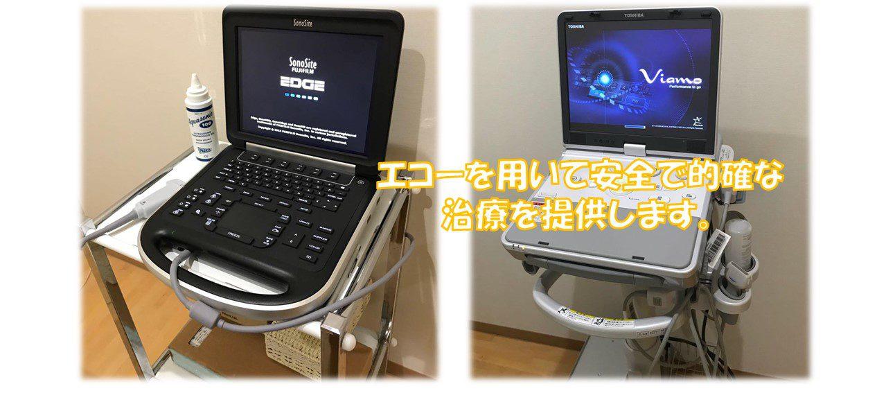 超音波エコーを用いて安心安全的確な 治療を提供します